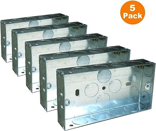 METAL GALV BACK BOX 25MM WALL SOCKET ELECTRICAL NEW!5 X 2 GANG DOUBLE SOCKET