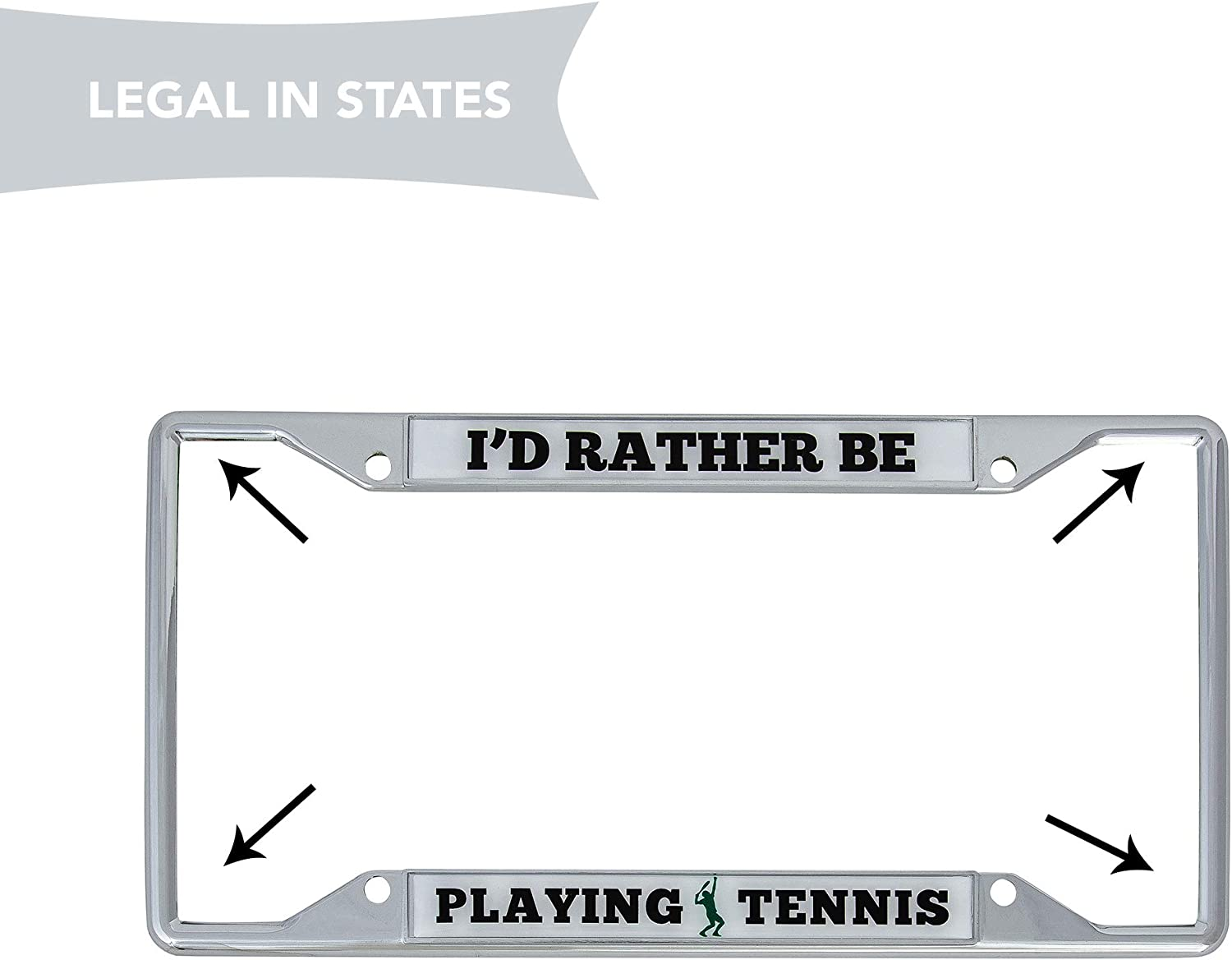 STHANCAT OF TAMPA Id Rather BE Golfing Chrome Metal Auto License Plate Frame Car Tag Holder