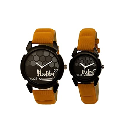 Snapcrowd Analogue Couple Watch with Hubby-Wifey Printed Dial & Brown Belt Analogue Couple Watch Combo-32_235
