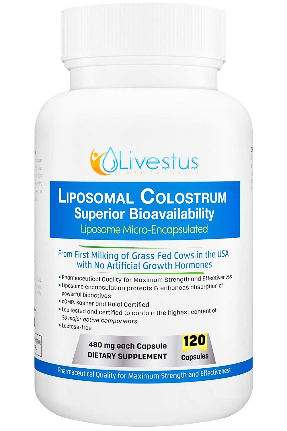 Livestus Liposomal Colostrum 120 Vegetarian Capsules with Superior Bioavailability to Heal Leaky Gut and Boost Immune System Made in USA from USDA Grass Fed Bovine Colostrum