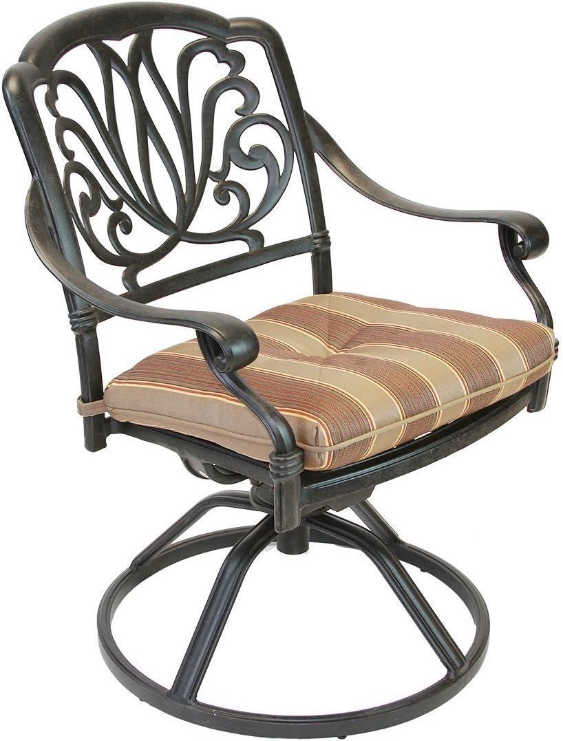 K&B PATIO LD777-11 Elizabeth Rocker Dining Chair with Cushion, Antique Bronze : Garden & Outdoor