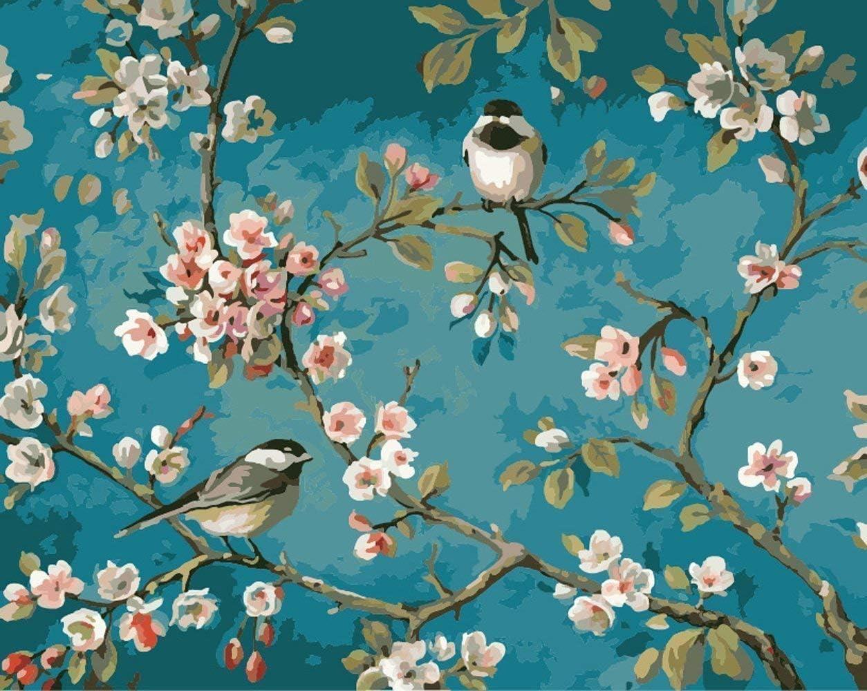 YXQSED [Rahmenlos] DIY Pintura por Números Pint por Número de Kits for Adultos Mayores Avanzada Niños Joven-pájaros en Las Ramas 16x20 Inch