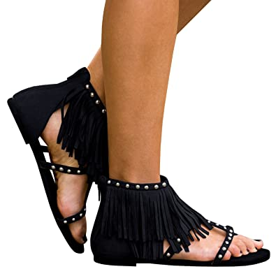 c4c569ba45c3e2 Women Fringe Tassel Flip Flops Thong Gladiator Sandals Flat Ankle Wrap  Summer Shoes Black