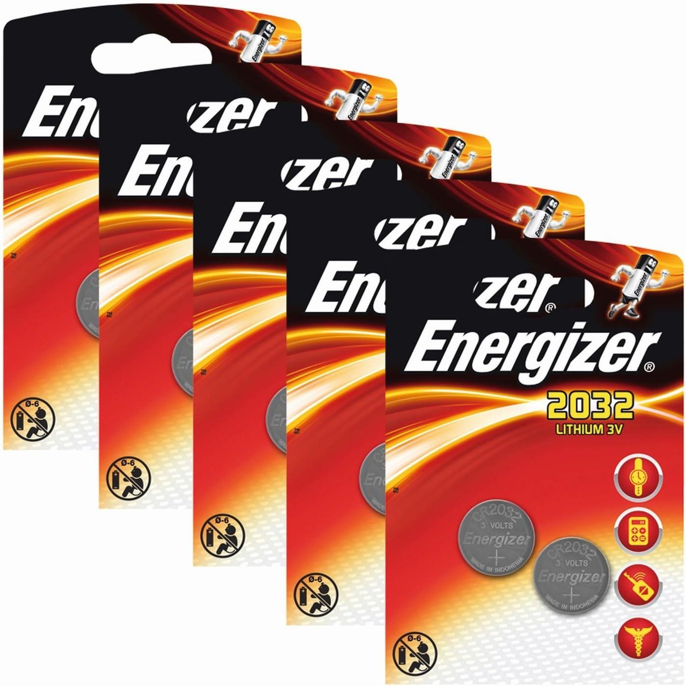 Paquete de Pilas cr 2032 3v Energizer - Pila tipo botón de litio CR especial para dispositivos electrónicos, 5 paquete x 2 unid.