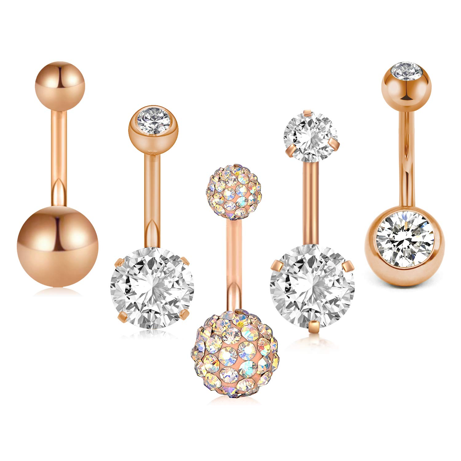 D.Bella 14G Belly Button Rings Bananabell Piercing Belly Navel Bars Curved Barbell Piercing for Women Men Body Piercing Jewellery 10MM 5PCS