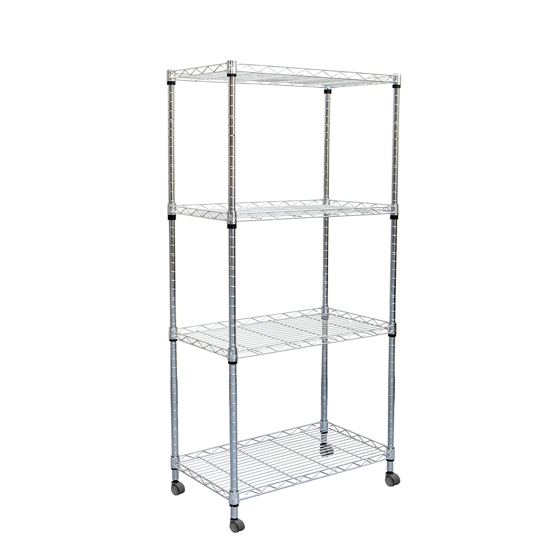 Mind Reader 4 Tier Adjustable Metal Storage Rack Shelving Unit with Wheels Silver