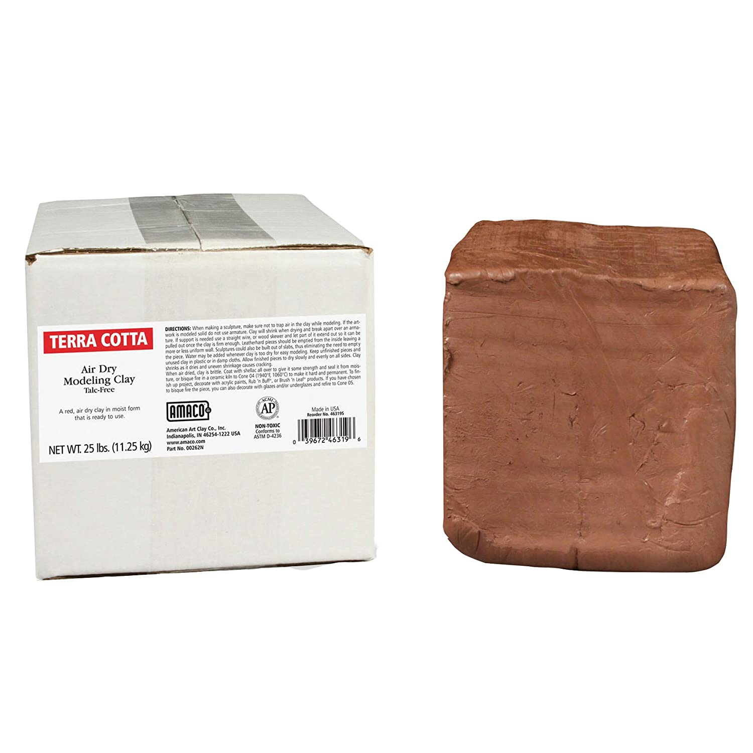 AMACO AMA46319S Air Dry Clay, Terra Cotta, 25 lbs. AMERICAN ART CLAY