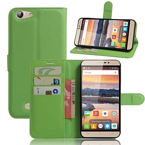 Funda para CUBOT Note S Carcasa con Soporte Plegable, Ranuras para Tarjetas y Billetes, Broche Magnético, Cubierta de Material de Cuero - Color Verde