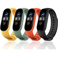 Monuary 4 Pieces Straps for Xiaomi Mi Band 5, Colourful Replacement Bracelet in Anti-Lost Silicone Designed Fitness…