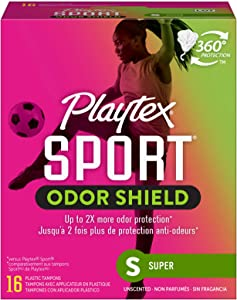Playtex Sport Fresh Balance Tampons with Odor Shield Technology, Super, Unscented - 16 Count