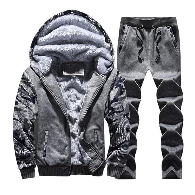 ♚Btruely Herren Invierno Chándal para Hombre Chaqueta cálido paño Grueso y Suave Deportivo Abrigo Sudaderas con Capucha + Pantalones Traje de Sudor Suit: ...