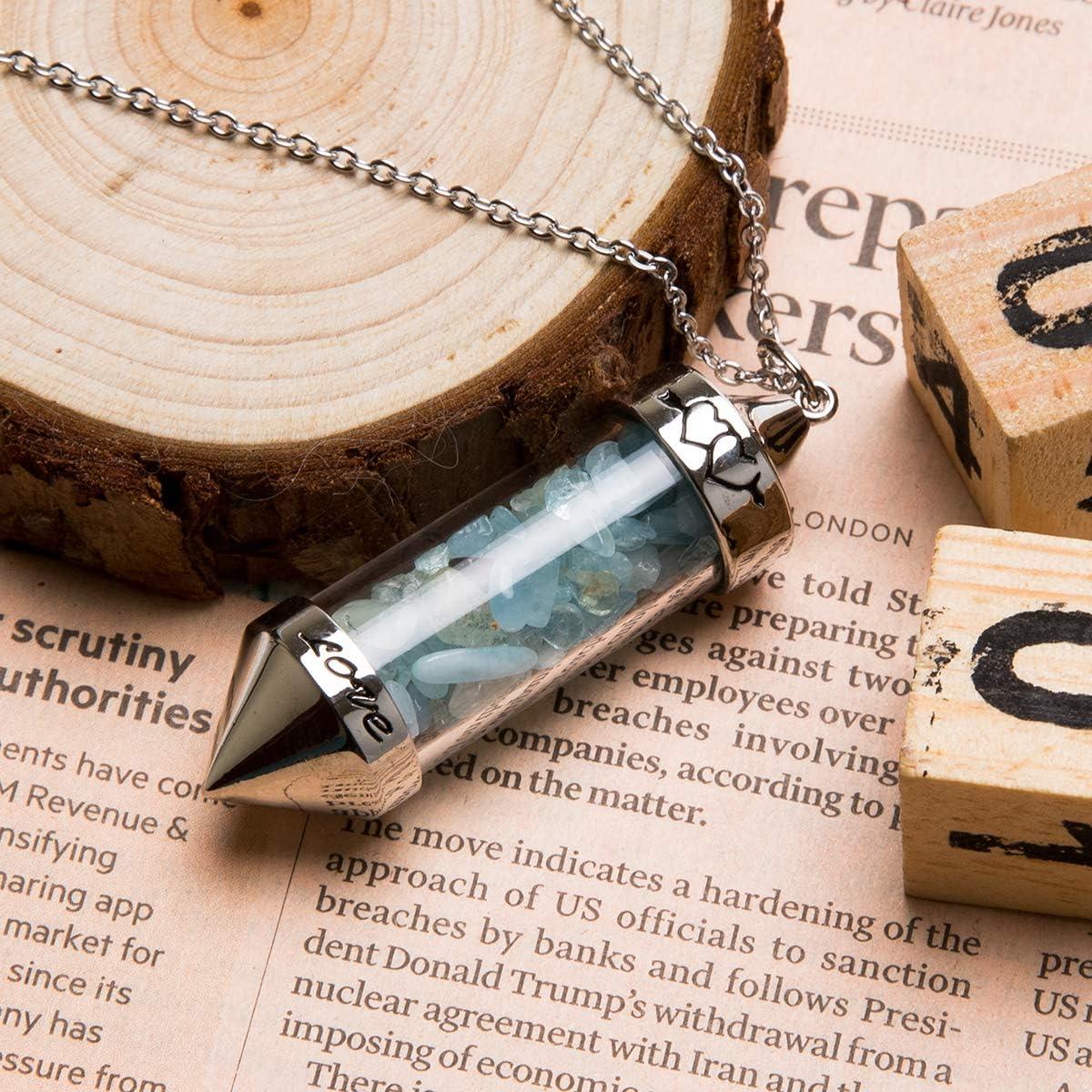 Bivei Chakra Necklace Tumbled Chip Gemstone Glass Wishing Bottle Quartz Crystal Stone Healing Pendant Aquamarine