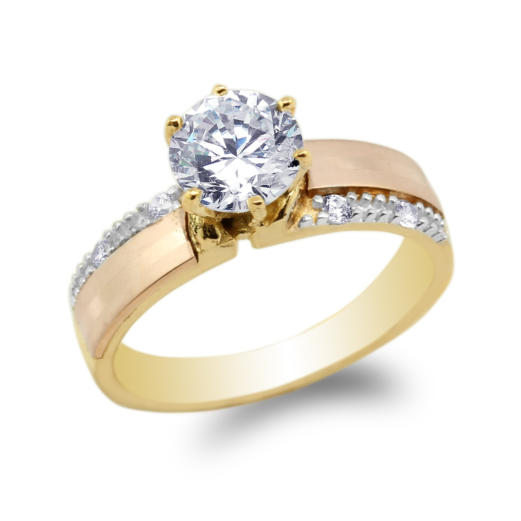 JamesJenny Ladies 10K Yellow Rose Gold Three Colored Engagement Solitaire Ring Size 6