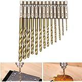 """Hakkin 13-Piece Titanium Drill Bit Set, 1.5-6.5mm High Speed Steel, Quick Change, 1/4"""" Hex Shank"""