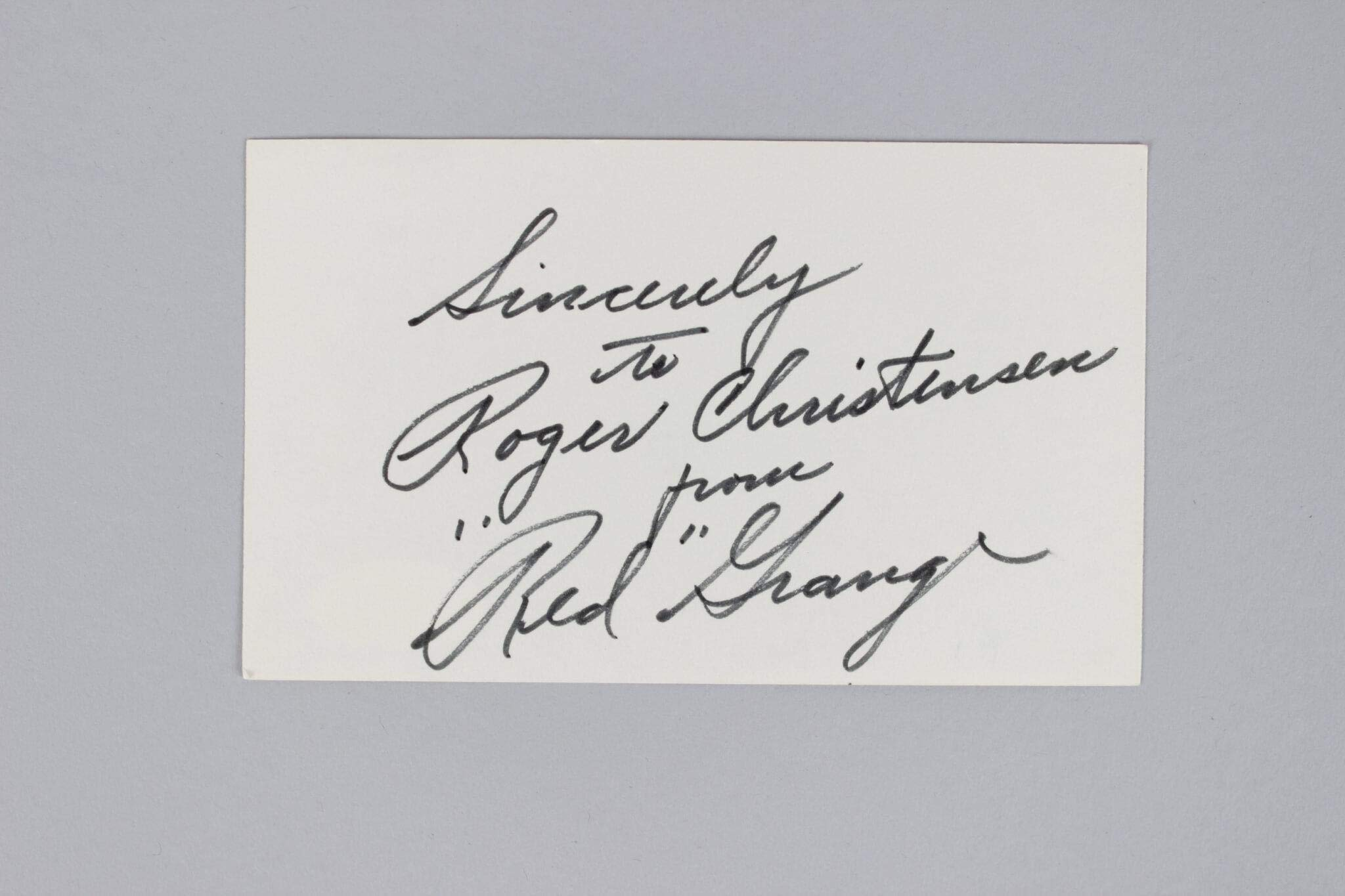 Red Grange Signed Index Card Bears COA JSA Certified NFL Cut Signatures