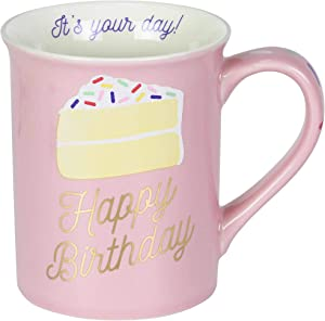 Enesco Our Name is Mud Happy Birthday Cake Glitter Coffee Mug, 16 Ounce, Pink