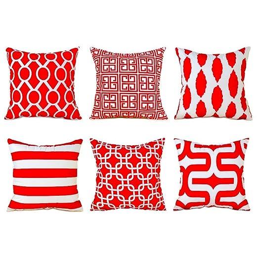 Topfinel Fundas cojín Lona de Almohadas Creativa para el sofá Juego de 6 45x45cm Rojo