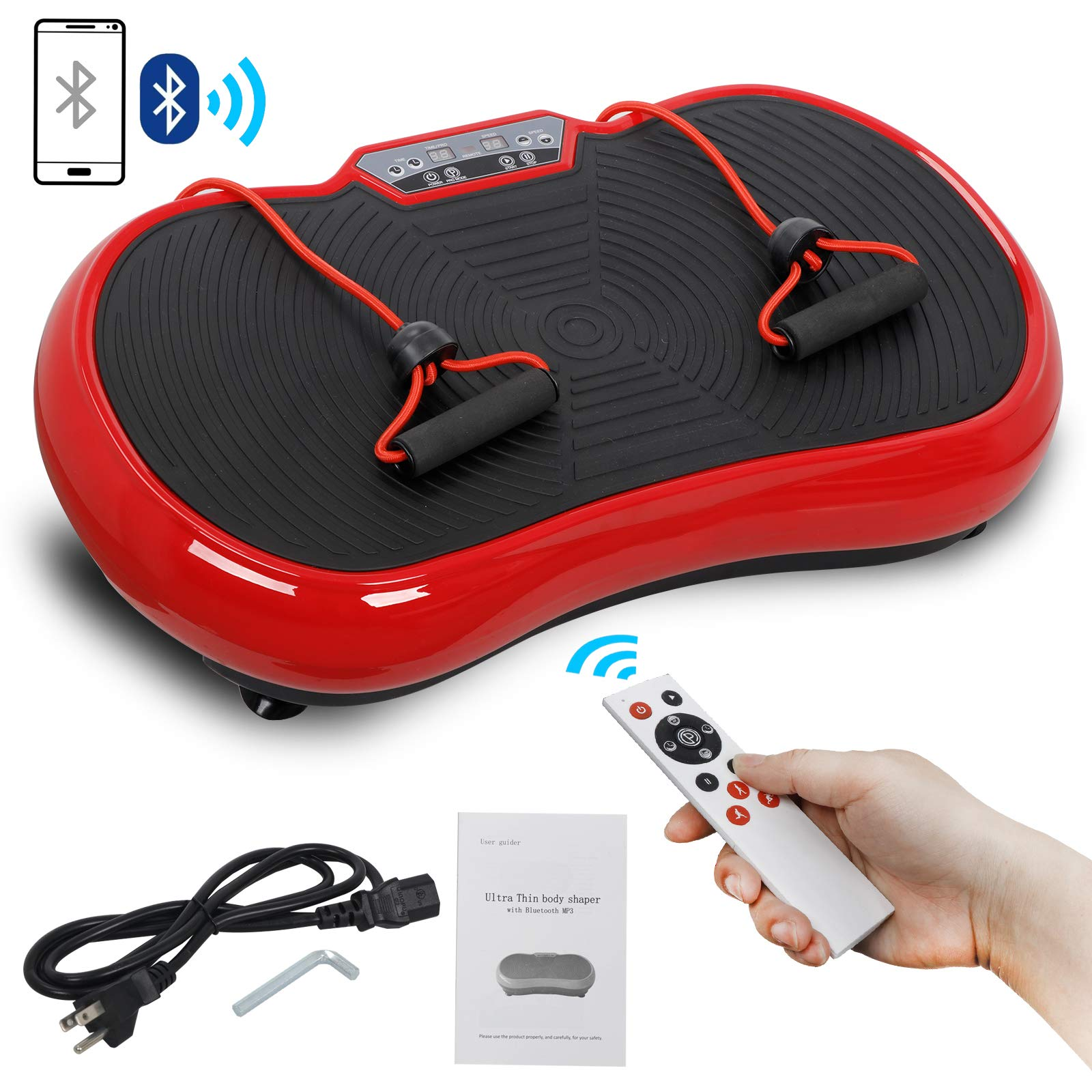 SUPER DEAL Crazy Work Out Fit Full Body Vibration Platform Massage Machine Fitness W/Bluetooth Red by SUPER DEAL (Image #1)