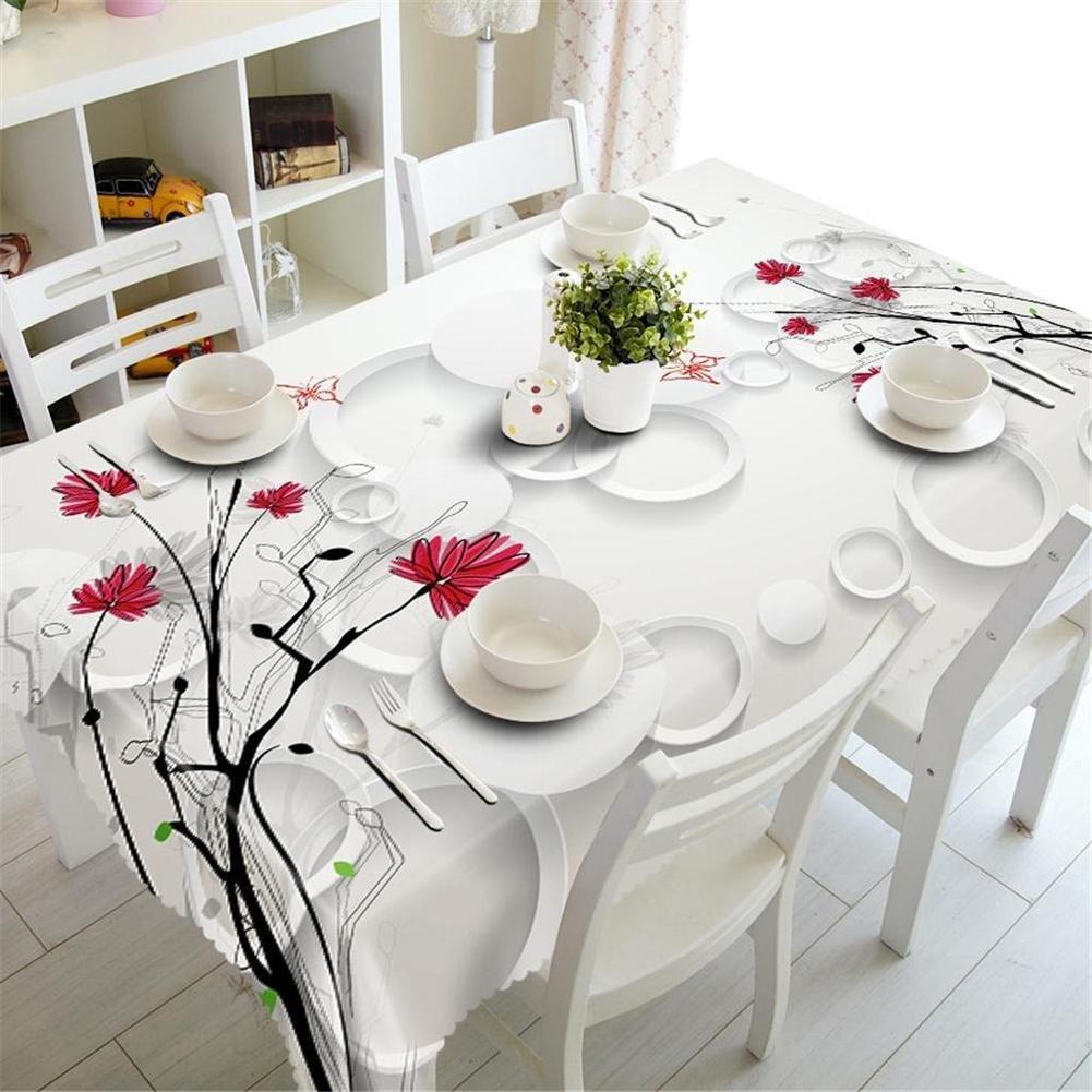HUANZI Tischdecke 3D Einfache grüne Blütenzweige Polyestergewebe Staubdicht Umweltschutz Geschmacklos Rechteckig Tischdecke, Oblong 80cm130cm B074Y3KNM9 TischdeckenGarantiere Qualität und Quantität   Haltbarer Service