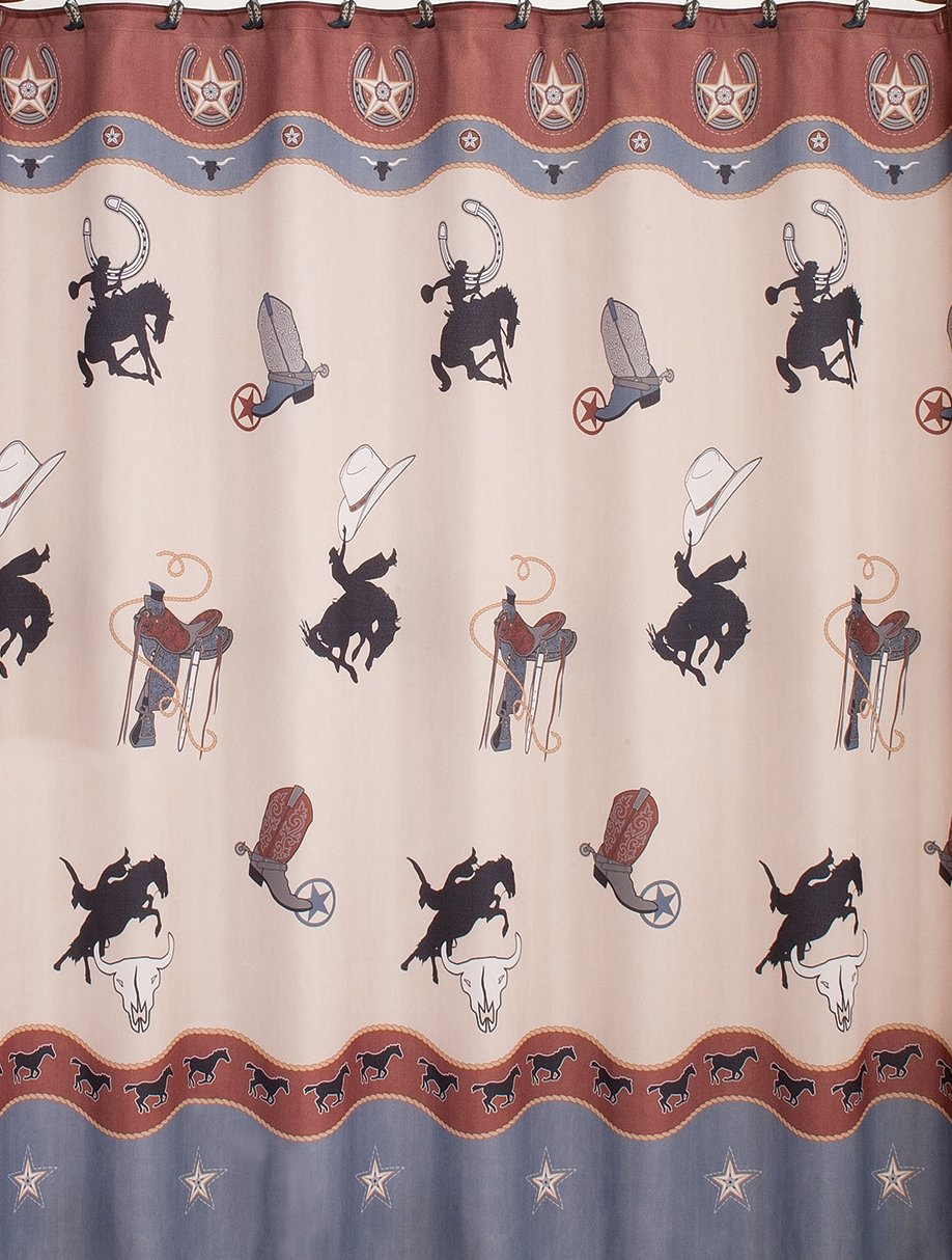 Amazon Saturday Knight Rodeo Fabric Shower Curtain Blue Home Kitchen