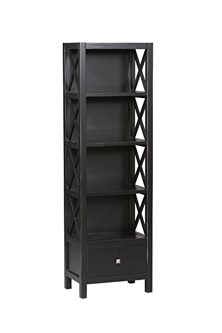 4 shelf tall narrow bookcase in antique black finish - Tall Narrow Bookshelves