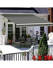 Greenbay Grey DIY Manual Patio Awning, Retractable Gazebo Outdoor Canopy, Garden Sun Shade - 5