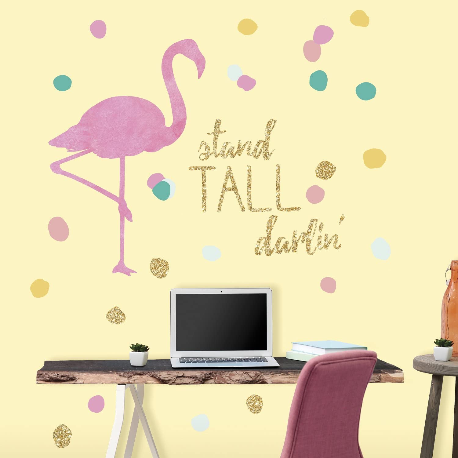 Roommates Rmk3506gm Stand Tall Flamingo Peel And Stick Wall Decals With Glitter Amazon Com