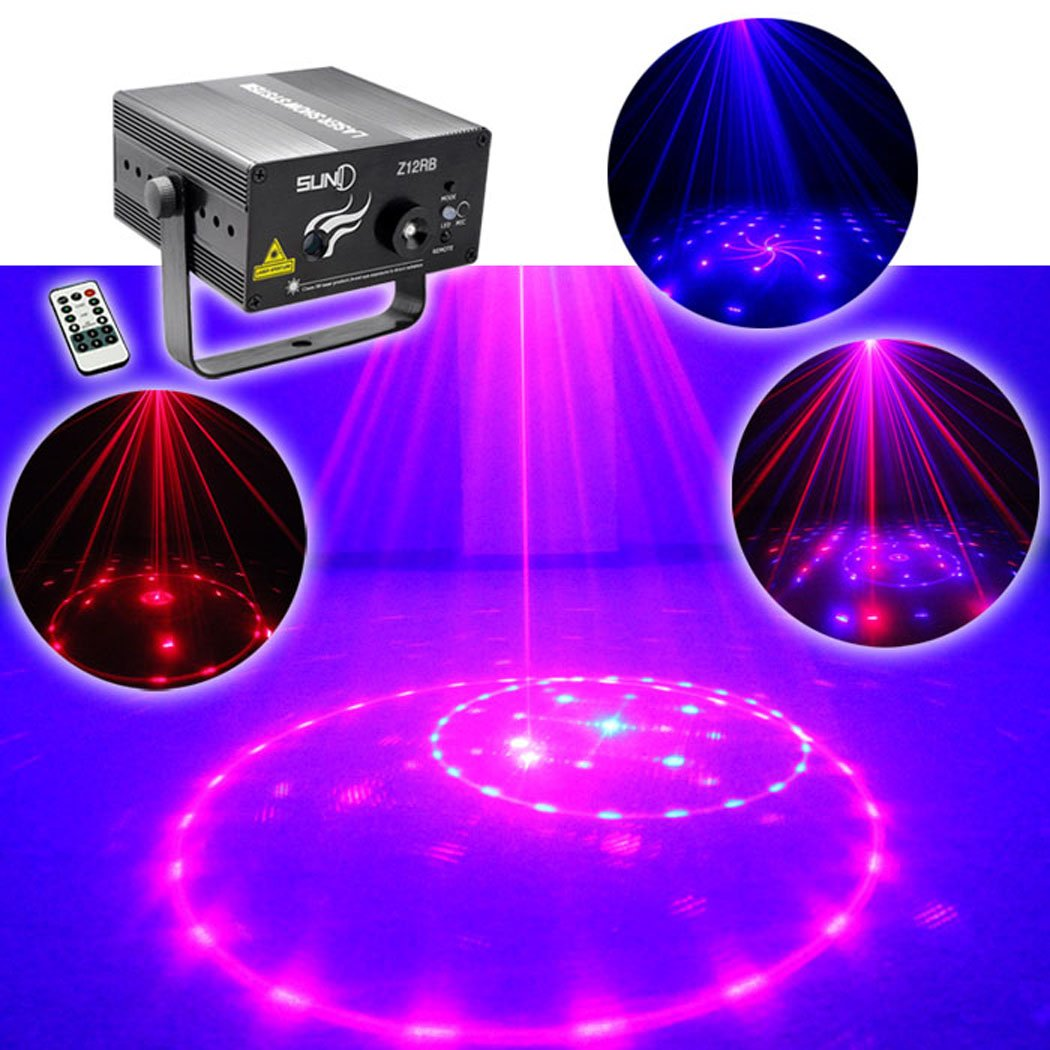 SUNY Indoor Decor Dj Light Event Projector Laser Light RB Blue Red 12 Gobo Blue LED Z12RB for DJ Home Party by SUNY