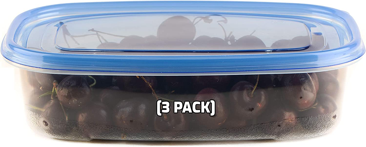 [3 PACK] 64oz Rectangular Oblong Plastic Reusable Storage Containers with Snap On Lids - Airtight Stackable Reusable Plastic Food Storage, Leak-Proof, Meal Prep, Lunch, Togo, BPA-Free by EcoQuality