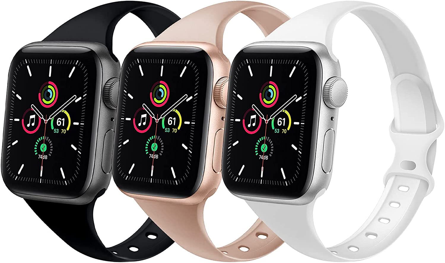 DYKEISS 3 Pack Sport Slim Silicone Band Compatible for Apple Watch Band 38mm 42mm 40mm 44mm, Thin Soft Narrow Replacement Strap Wristband for iWatch Series SE/6/5/4/3/2/1 Women Men