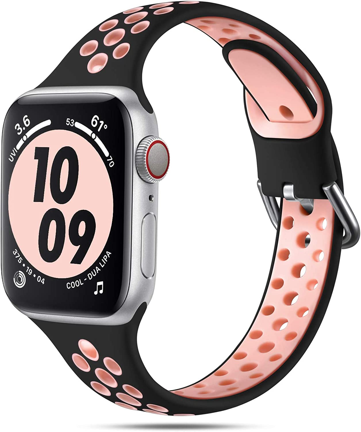 Henva Compatible with Apple Watch Band 38mm 40mm for Women Girls, Slim Soft Breathable Silicone Sport Band with Air Holes Compatible for iWatch Series SE/6/5/4/3/2/1, Black/Pink