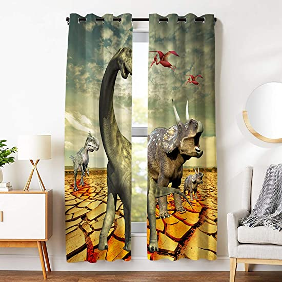 SXCHEN Blackout Curtains 15 Panels Grommet Curtains for Bedroom Tyrannosaurus Rex Dinosaur W54 x L84 Inch