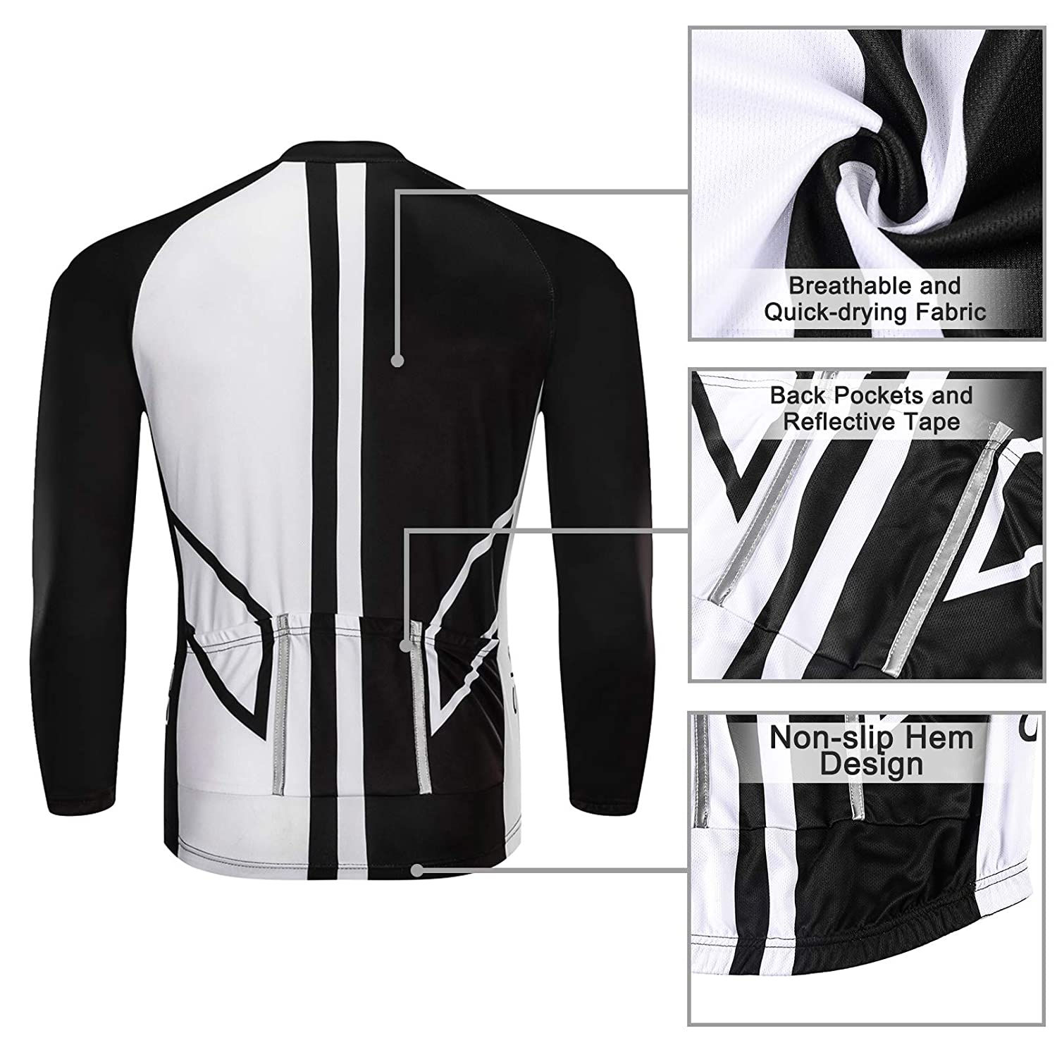 SKYSPER Mens Cycling Jersey Suit Long Sleeve MTB Bike Bicycle Shirt Tights 3D Padded Pants Winter Riding Gear Breathable