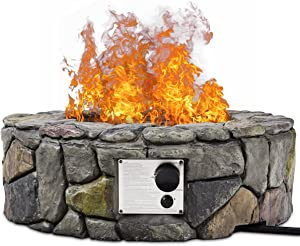 HAPPYGRILL Patio Gas Fire Pit, Outdoor Backyard Artificial Stone Rocks Gas Burner Stove with Cover