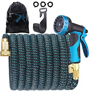 Gardguard 50ft Garden Hose, No-Kink Expandable Water Hose with Durable 3-Layers Latex and 10 Function Nozzle, Flexible Water Hose (All New Upgraded 2020)