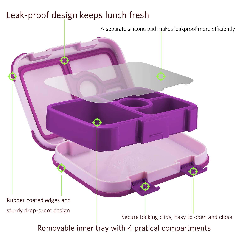 Amazon.com: Caja de almuerzo a prueba de fugas para niños, 4 ...