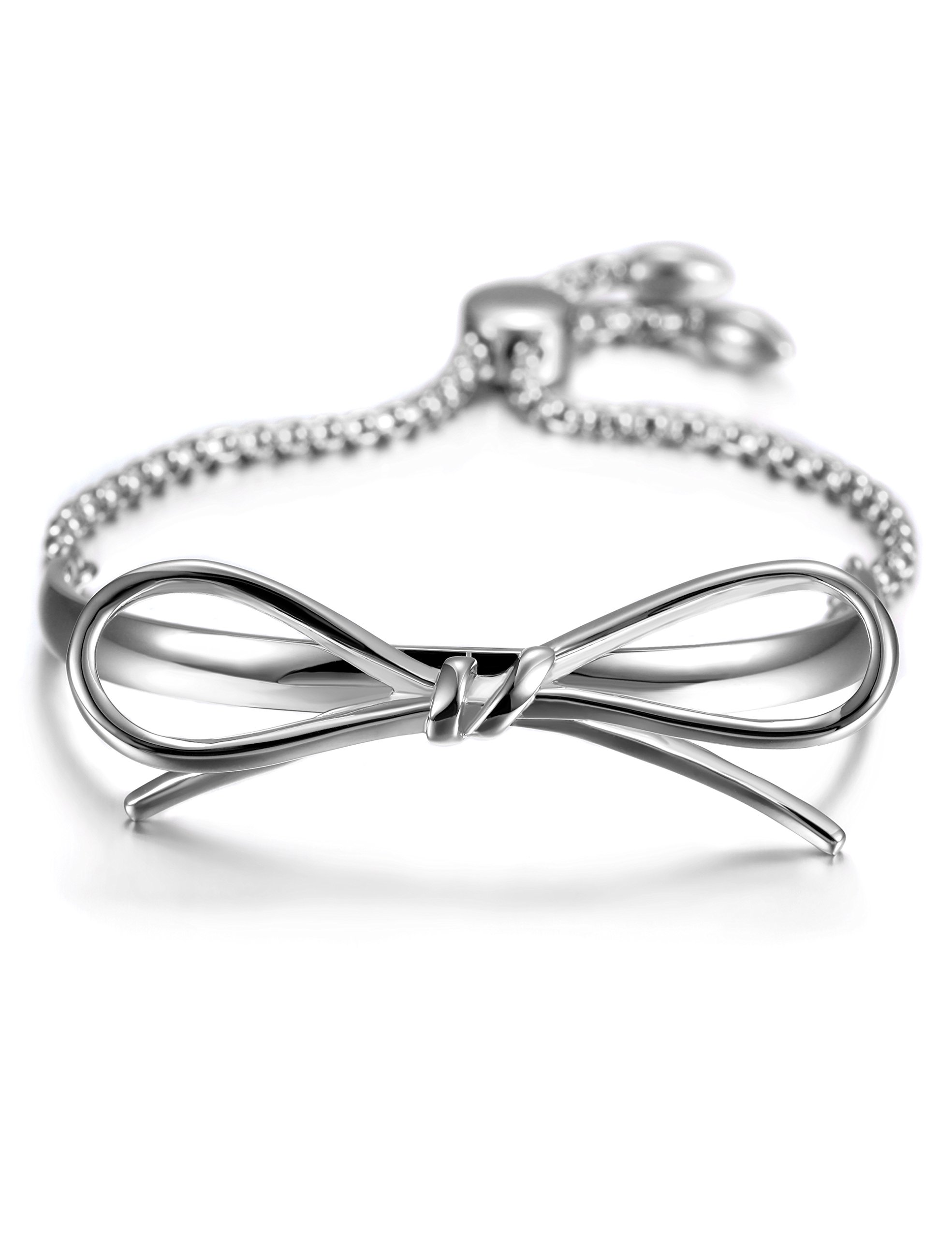 JINBAOYING Stainless Steel Slider Adjustable Bow Bracelets for Women Girls