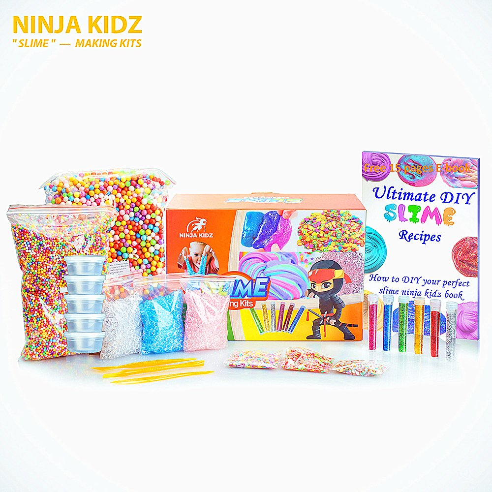 Slime Supplies Kit by Ninja Kidz: Including Rainbow Foam Beads, Fishbowl Beads, 12 Glitter Pack, Fruit and Flower Slices,Slime CuttingTools, 20 Large Containers, Ebook - DIY Slime and Clay Decoration 4336848759