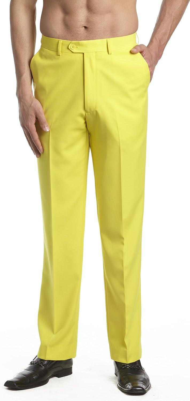 60s – 70s Mens Bell Bottom Jeans, Flares, Disco Pants CONCITOR Mens Dress Pants Trousers Flat Front Slacks Solid YELLOW Color $36.70 AT vintagedancer.com