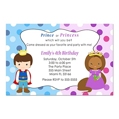 Amazon Com 30 Invitations Prince Princess African American Girl Boy