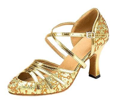Honeystore Women's Glitter Latin Dance Shoes Criss Cross Strap Mid Heel  Party Tango Salsa Pump Wedding