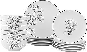 FIGULARK 18-Piece Rustic Flower Dinnerware Set for 6, Chip Resistant Kitchen Dishes Sets, Large Plates & Bowls for Dinner, Salad, Dessert
