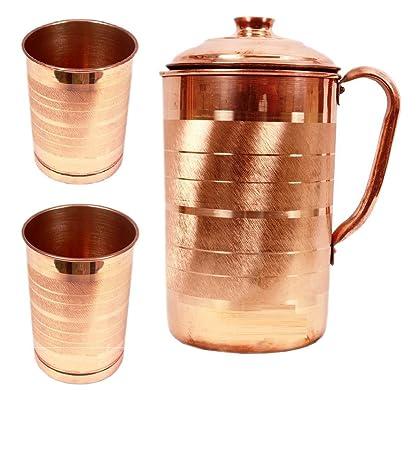 JOCO PRIME Copper Jug Pitcher With 2 Glass Tumbler, Drinkware Set (3 Pieces) (SO14G2) Glassware & Drinkware at amazon