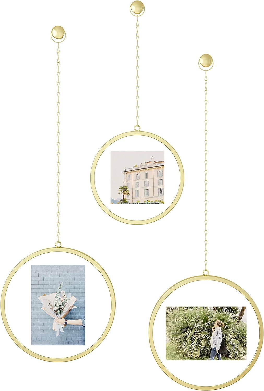 "Umbra 1013425-221 Fotochain Picture Frames, Photo Display Wall Decor, Matte Brass,10"" width"
