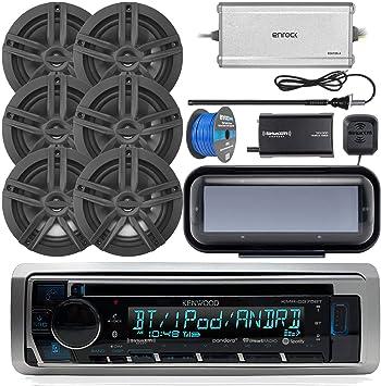"Antenna Kenwood Marine Bluetooth CD MP3 USB AM//FM Reciver 2X 6.5/"" Speakers"
