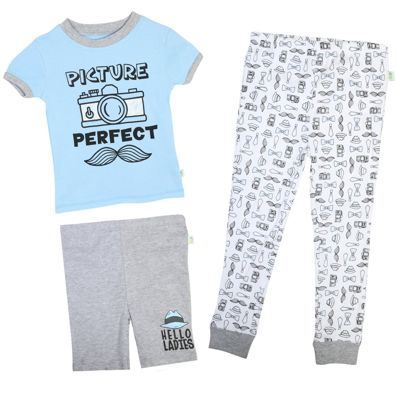 Duck Duck Goose Infant & Toddler Boys 3-Piece Snug-Fit Summer Pajama Set, Picture Perfect, 24 Months'