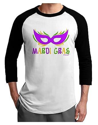 b92f9712 Amazon.com: TooLoud Mardi Gras - Purple Gold Green Mask Adult Raglan Shirt:  Clothing