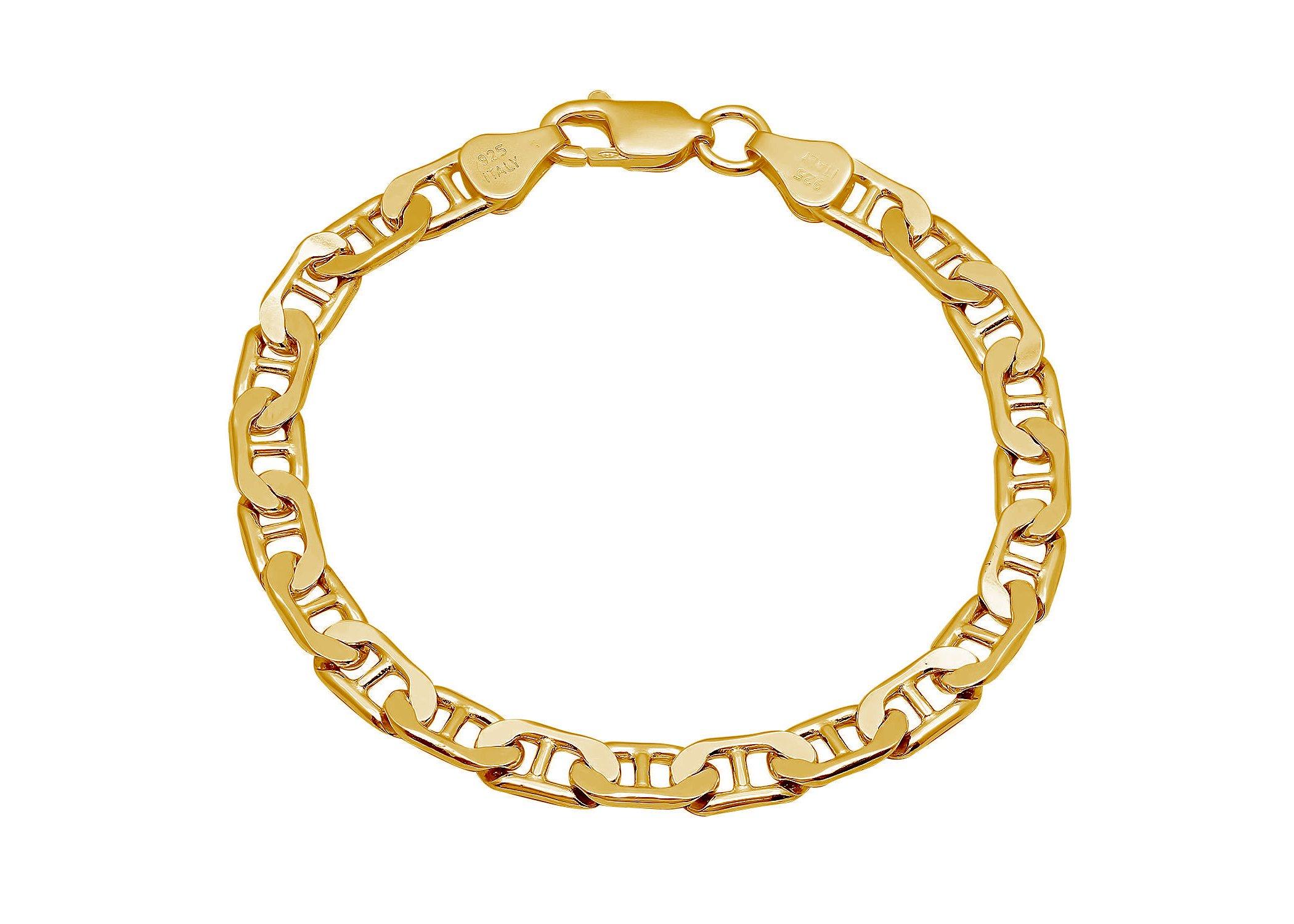 "925 Italian Sterling Silver Gold Mariner Link Chain 4.5mm Bracelet - Fine Jewelry For Men Women (8"") by Pori Jewelers (Image #1)"