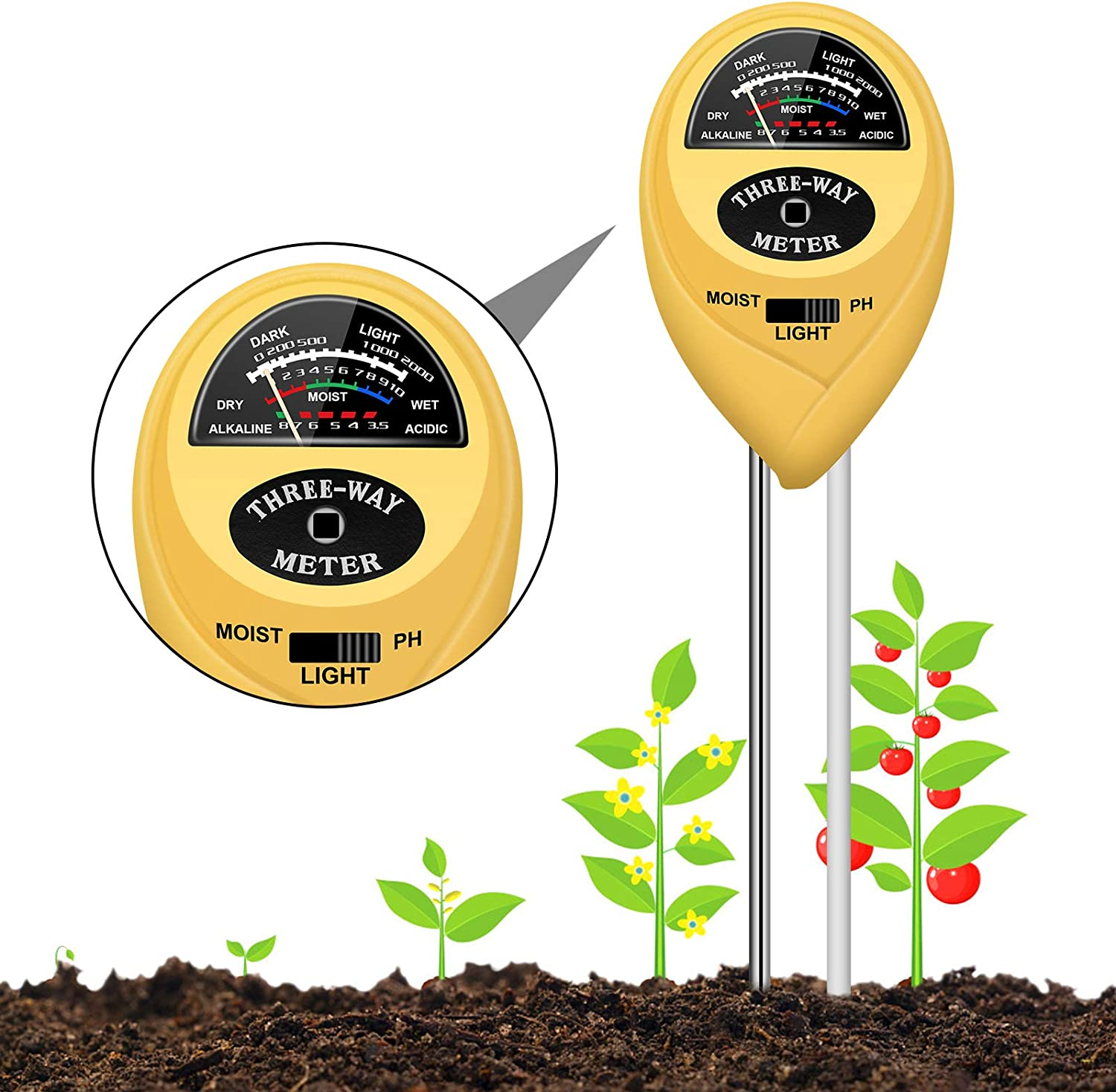 Soil pH Meter, Plants Moisture Meter, 3-in-1 Test Tool Kits with PH/Light/Moisture Sensor for Plant, Great Tester for Garden, Farm, Indoor & Outdoor Use, Thermometer Water Monitor(No Battery Needed)