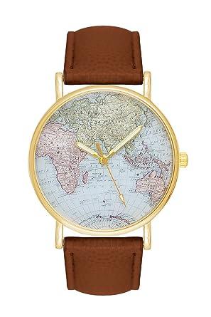 Armbanduhr damen leder braun  Damenuhr Weltkarte Uhr Globus Karte Braun Lederarmband Damen ...